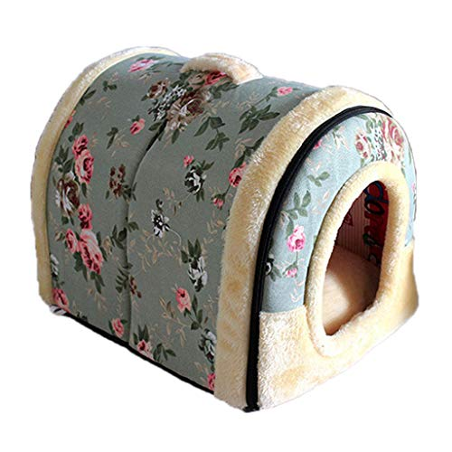Cat Bed Pet House Cave Self Warming Cat Cubby Enclosed for Cats Kittens Small Dogs Washable Removable Inner Cushion Super Soft and Cosy Plush Cat 2 in 1 Yurt House