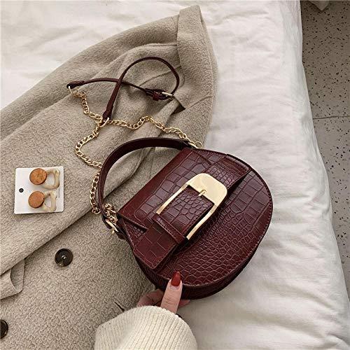 Frauentasche Damen Steinmuster Pu Leder Umhängetasche Kleine Kette Handtasche Kleine Tasche Damen Abendhandtasche 19Cmx17Cmx7Cm Burgund