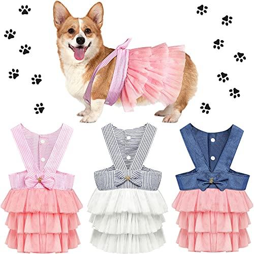 3 Piezas Vestidos de Princesa de Perros Vestidos de Nudo Lazo de Perrito Vestidos de Tutú de Mascotas Chaleco de Gato Lindo de Malla a Rayas Vestidos de Playa de Verano