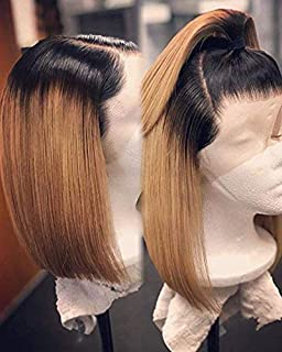 Lace Front Bob Human Hair Ombre Wig 2 Tone Glueless 13x6 Deep Middle Part Pre Plucked with Baby Hair Straight Short Bob Wigs Glueless Blonde Bob Lace Frontal Wigs for Women (12