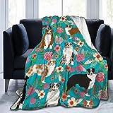 LodiSFOA Australian Shepherd Dogs Flowers Fleece Blanket Throw Lightweight Blanket Super Soft Cozy Bed Warm Blanket for Living Room/Bedroom All Season