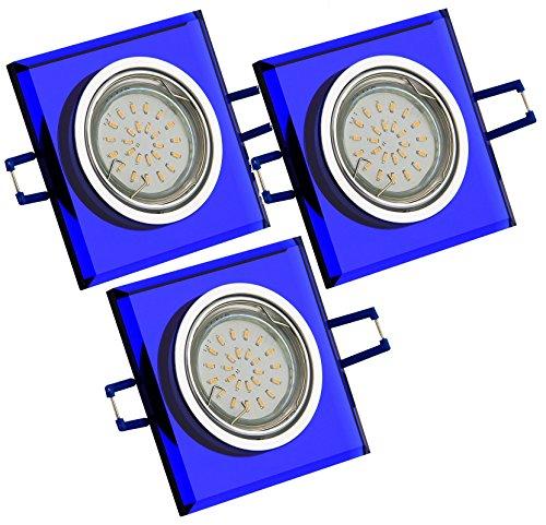 Trango TG6736B-03B Lot de 3 spots LED encastrables en verre bleu et aluminium inoxydable avec ampoule LED 3000 K Blanc chaud à intensité variable 230 V