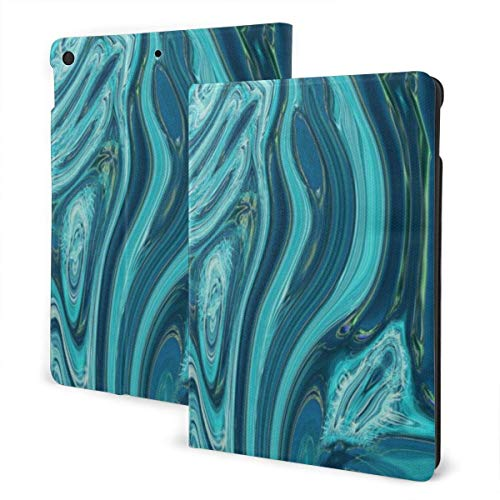 Ocean Marble Swirl Abstract i-Pad case,for Ipad 7th Generation 10.2 Inch,Premium Leather Folio Stand Cover (Auto Wake/Sleep) IPD-3206