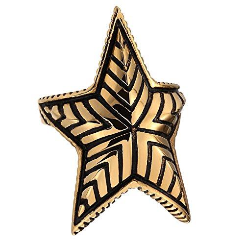Blisfille Anillos de Tous En Oferta Anillo Acero Circonita Negra Anillo para Boda Tamaño 20,Oro