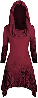Aniywn Halloween Tops Blouse Women's Print Vintage High Low Hem Hoodies Cloak Ribbed Sweater Pullover