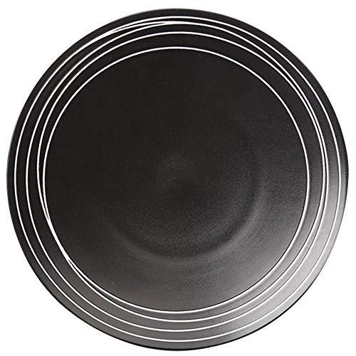 HTL Placa de Cena Placa Cerámica Negro Occidental de Alimentos, 12 Pulgadas Ensalada de Pasta Placa Placa de Cocción Restaurante por Encargo de la Placa de Cena