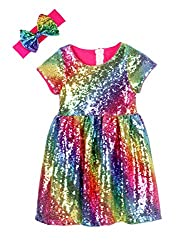 Hot Pink Rainbow Toddlers Sequin Dress