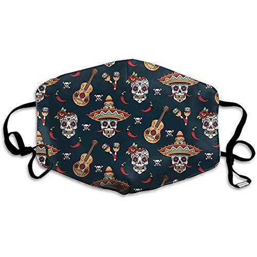 Comfortabele twee lagen stofmasker, zachte gitaar peper suiker schedel gezicht masker Cover mond voor volwassenen en tieners