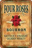 Four Roses Bourbon Vintage-Blechschild Kunst Eisen Gemälde