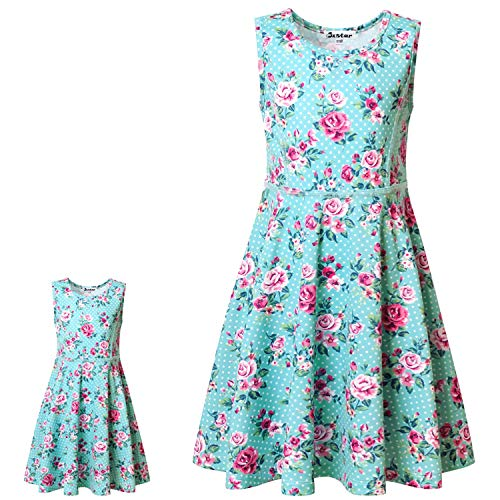 Matching Doll & Girls Dresses Flower Summer Clothes Fit 18' American Girls