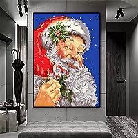 クリスマスの遊び心のあるサンタ _ DIY油絵、 _ _ によるペイント 大人・子供・初心者用 アクリルペイント 数字による絵画 絵画 キット _ 大人 子供 アートクラフト 自宅 壁 装飾 _ フレームレス