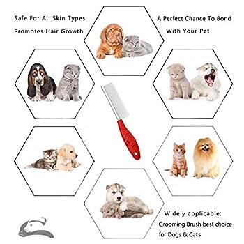 Sorxine Peigne de toilettage pour chiens et chats, peignes de toilettage pour chiens, peignes pour chiens, peignes pour chiens, peignes en métal pour enlever les poils et les nœuds, Rouge.