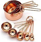 Juego de 8 tazas medidoras y cucharas de cobre de acero inoxidable con medidas grabadas, boquillas de vertedor y espejo pulido para hornear y cocinar.