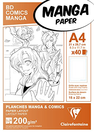 Clairefontaine 94045 C papel manga – Funda BD/Comic A4 40 Hojas rejilla Simple 210 x 297 mm 200 G
