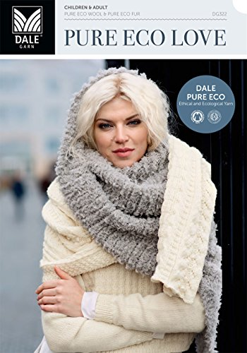 Dale Garn Pure Eco Love Book 322 contains 17 new Norwegian knitting patterns for fall of 2016. Written English instructions.