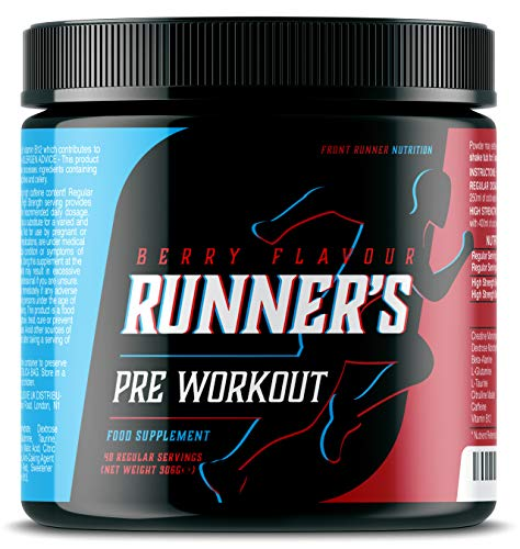 Runner's Pre Workout (Berry Flavour) – Energy Drink Powder for Your Daily Run, with Beta Alanine, Caffeine, Creatine Monohydrate & B12 for Your Energy & Performance Levels - 40 Servings, 306 Grams