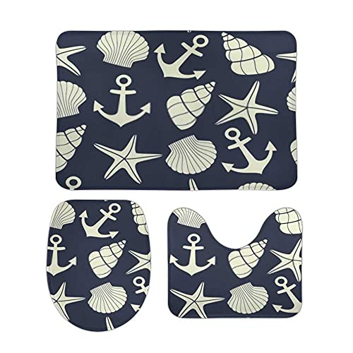 3Pcs Bathroom Rug Set Nautical Starfish Shell Dark Blue Anchor Bath Rugs Coral Fleece Thick SoftContour Mat Toilet Lid Cover Non-Slip Bath Mat Combo Accessories Tub