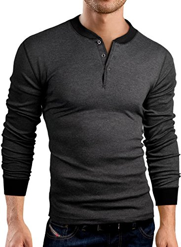 Grin&Bear Coupe Slim Henley T-Shirt, Manches Longues, Anthracite, L, GB145