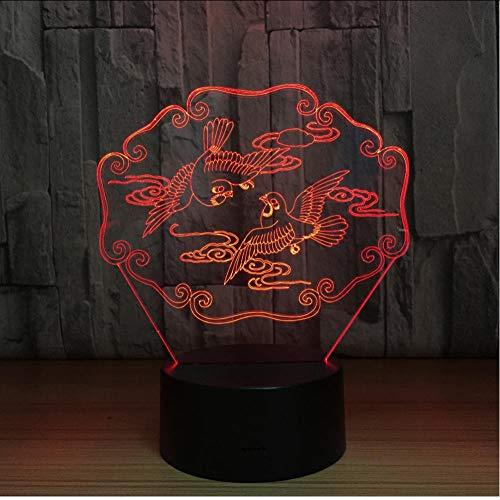 Mandarijn Ducks 3D-nachtlampje, nachtlampje, dier, USB-tafellamp, kleurrijke hologram-lamp voor bruiloftsfeest, decoratieve liefhebbers, cadeau Aanraakschakelaar.