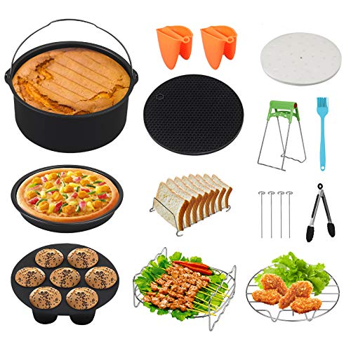 An image of the Kamtop 17 Pcs Air Fryer Accessories Set 7 Inch Air Fryer Accessories Set Power Air Fryer Accessory Kit Fits 3.2QT-7.2QT for Phillips Gowise with Cake Pan, Pizza Pan, Cupcake Pan, Grill Rack ect