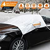 Windshield Cover with Rearview Mirror Covers, Upgrade 4-Layers Protection Windshield Snow Cover for Frost, Snow, Waterproof Windshield Sunshades for Most Cars and SUV, Fit for Winter and Summer