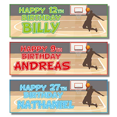 2 Personalised Birthday Banners - Basketball Design (Blue)