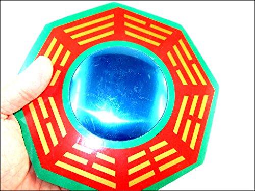Porter Feng Shui Traditionelle Vastu Bagua Spiegel 22,9cm–Rot, Grün, Golden konvex Wand Aufhängern für...