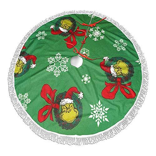 Weihnachtsbaumrock, Weihnachtsbaumdecke Rund Christbaumdecke Weihnachtsbaumröcke Schürze G-rinch Grünes Gesicht Christbaumständer Teppich Ornamente für Weihnachtsdekoration Weihnachtsbaum Teppich