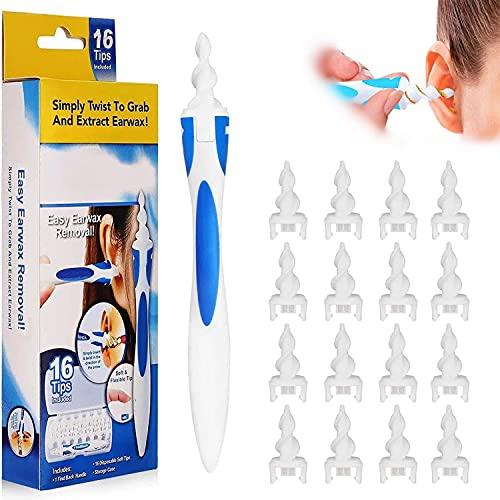 Q-grips Ohrenreinige Ohrenschmalz Entferner Ear Cleaning kit, Weiches 360 Grad Spirale Silikon Ohrreiniger mit 16 Waschbaren Ersatzköpfen, Für Kinder und Menschen