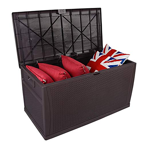 Photo of SA Products 460L Weatherproof Rattan Weave Effect Plastic Garden Storage Box XL Capacity – For Indoor & Outdoor Use – Ideal for Furniture Cushions Parcels Tools Toys Shed Overflow (Dark Chocolate)
