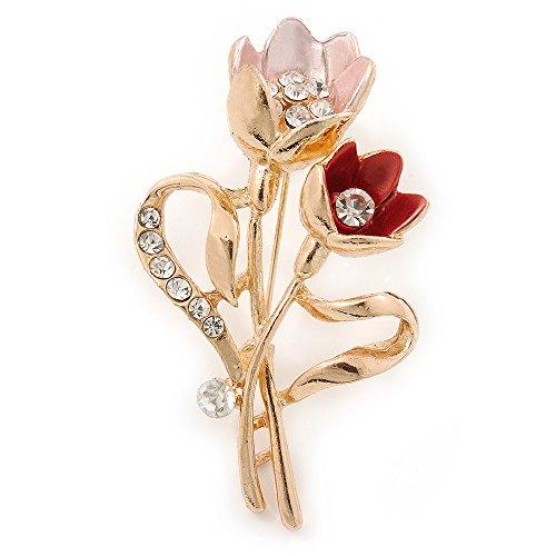 Color rosa Coral/Broche de cristal Tulip en tono dorado - 55 mm L