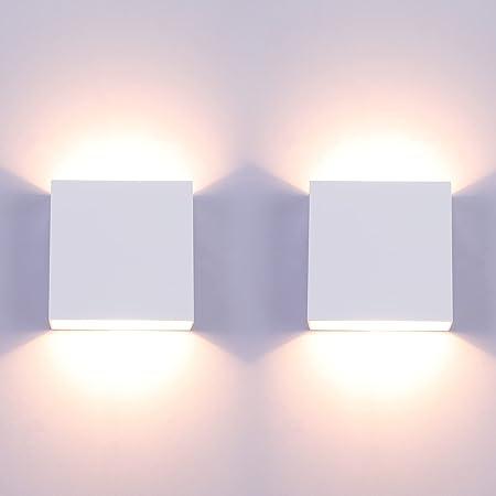 Glighone 2Pcs Appliques Murales Lampes Murales Intérieur LED Up Down Luminaire Moderne Aluminium Éclairage Décoration pour Salon, Chambre, Couloir Salle Manger(Blanc Chaud) [Classe énergétique A ++]