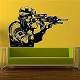 Pegatina de pared vinilo soldado hombre francotirador decoración del hogar extraíble pared calcomanía moderna sala de estar niño habitación 58x85cm
