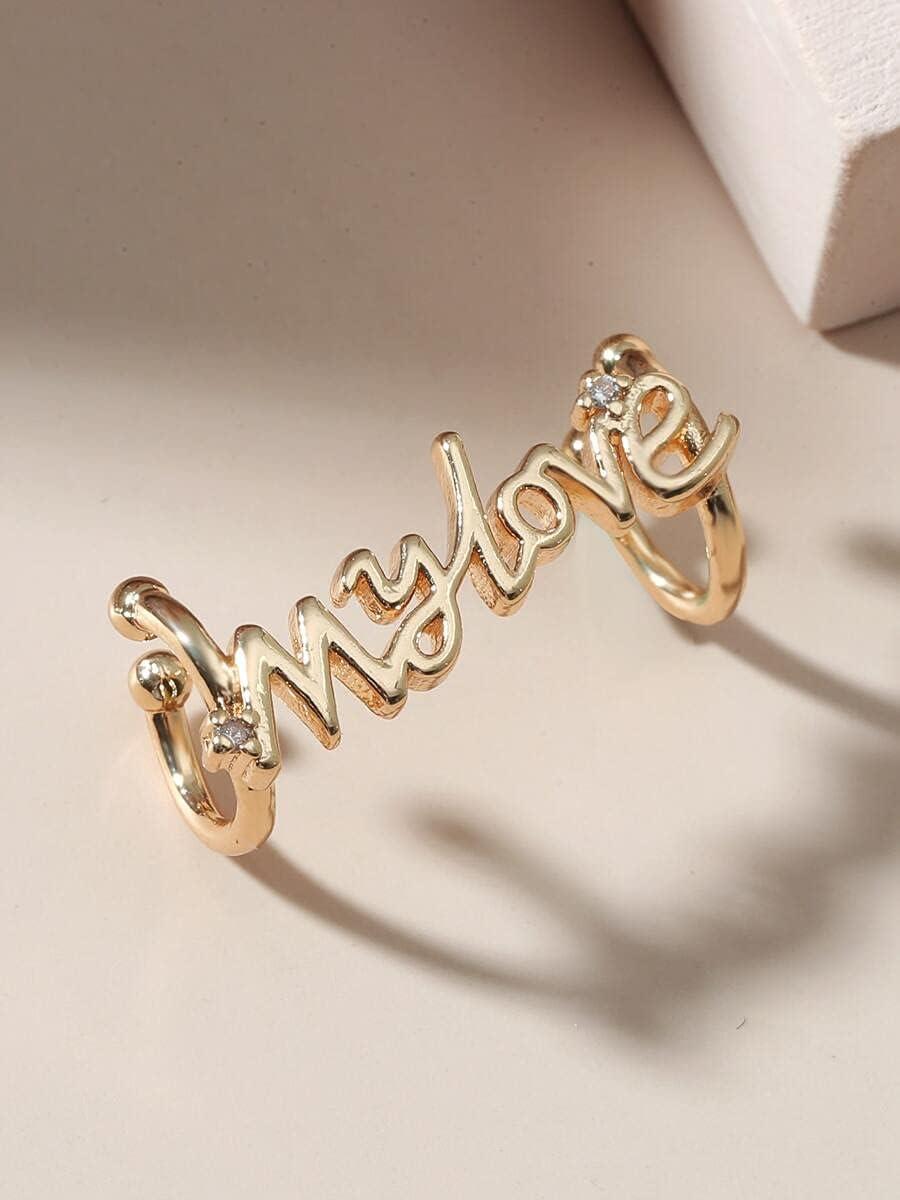 ZHCHL Hoop Earrings Letter Decor Ear Cuff (Color : Gold)