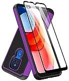 Dahkoiz Schutzhülle für Moto G Play 2021, Motorola G Play Hülle mit gehärtetem Glas Bildschirmschutz, Durable Defender Armor Cover Robuste Schutzhülle für Motorola Moto G Play 2021, Lila