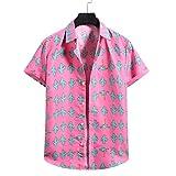 Routinfly Camiseta deportiva para hombre, estilo vintage, informal, cuello redondo, cárdigan de manga corta, estilo hawaiano, para playa, flores, cuello alto, camisa básica