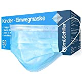 50 Stück Kindermasken Mundschutz OP-Masken EN 14683 Typ IIR für Mädchen und Jungen CE geprüft zertifiziert 3-lagig blau Einweg