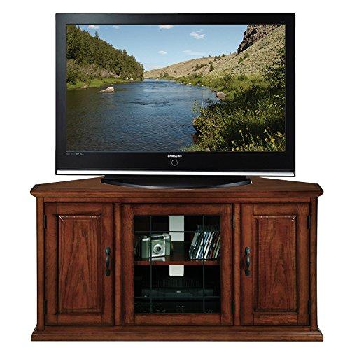 Leick Oak Leaded Glass Corner TV Stand