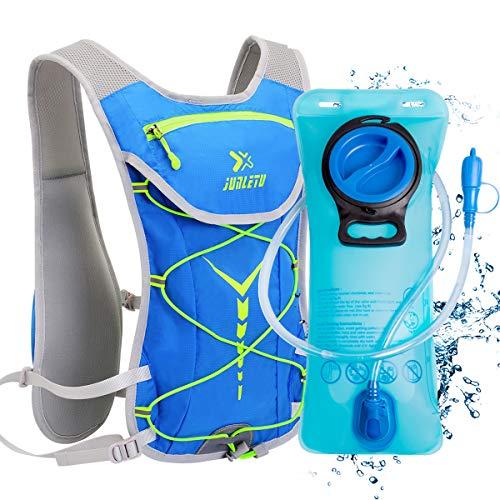 BTNEEU Sac Hydratation avec Poche d'eau 2L, Sac à Dos Running Léger 6L pour Homme Femme, Sac à Dos Course à Pied Sac Trail Hydratation pour Marathon Randonnée Vélo VTT Escalade (Bleu - Vert)