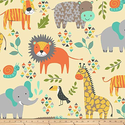Baum Textiles Winter Fleece Jungle Animals Fabric, Butter, Fabric By The Yard