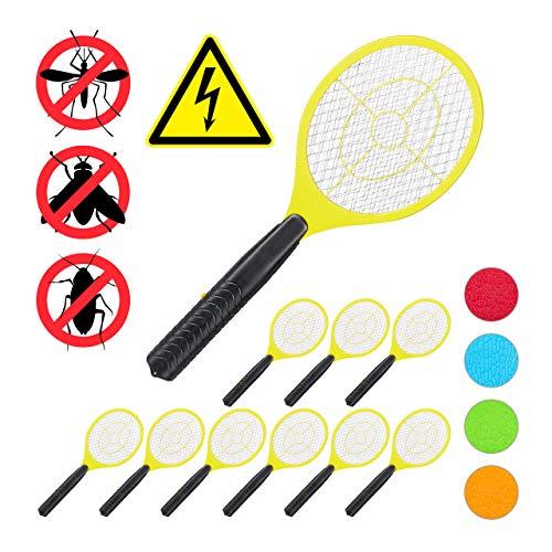 Relaxdays Pack de 10 Raquetas Matamoscas Eléctricas A Pilas para Moscas, Mosquitos, Amarillo, 47 cm