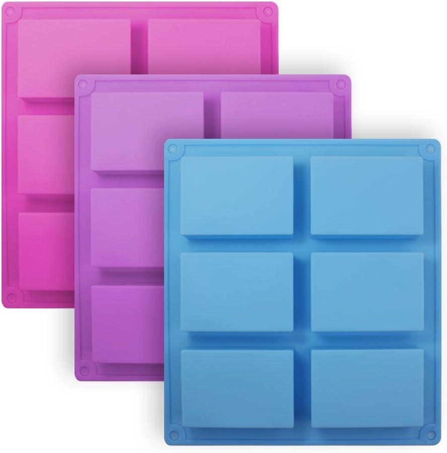 Senhai Moldes de jabón de Silicona rectángulo de 3 Piezas, Molde de Pan de Pastel de 6 cavidades Moldes de Pan, Bandeja de Queso de Chocolate Bandejas artesanales de maíz - Rosa, Azul, púrpura