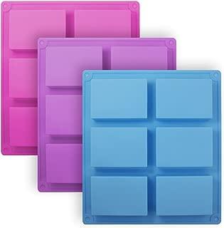 3 Pieces Rectangle Silicone Soap Molds, SENHAI 6-Cavity Cake Loaf Bread Baking Pans, Chocolate Cheesecake Cornbread Handmade Trays - Pink, Blue, Purple