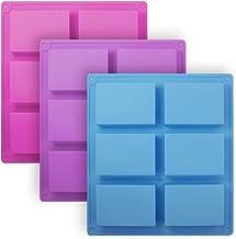 3 Pieces Rectangle Silicone Soap Molds, SENHAI 6-Cavity Cake Loaf Bread Baking Pans, Chocolate Cheesecake Cornbread Handma...