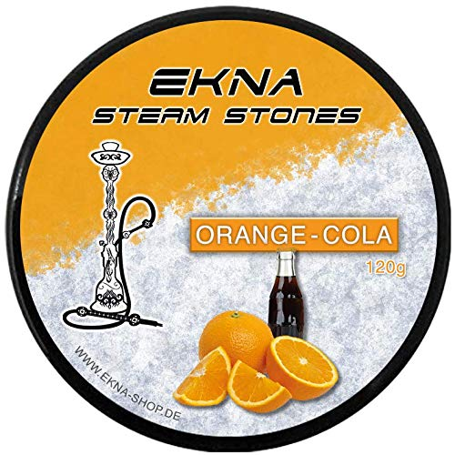 EKNA SteamStones - Cola arancio per narghilè, 120 g, come tabacco senza nicotina, gusto fruttato e intensivo