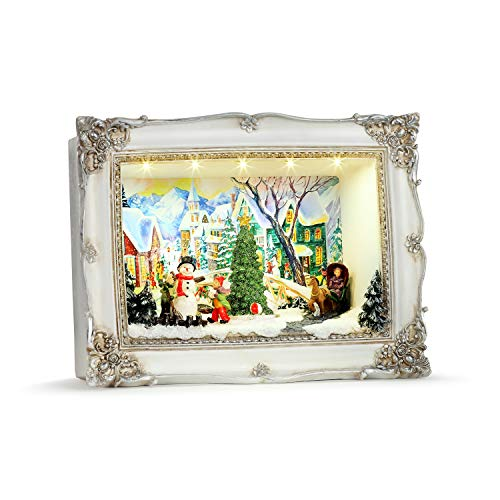 Mr. Christmas Animated Shadow Box Scenes - Village Christmas Décor, White