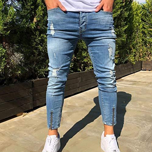 Vaqueros para Jeans Pantalones Vaqueros Rasgados Hombre, Pantalones Vaqueros Elásticos con Cremallera En El...
