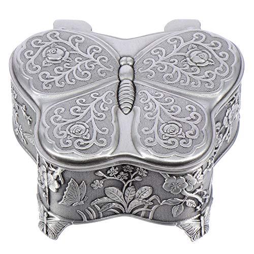 Cabilock Caja de Joyería de Mariposa Retro Caja de Joyería de Mariposa de Metal Antiguo Contenedor de Almacenamiento de Baratija Vintage Organizador de Baratijas para Niñas Damas Mujeres