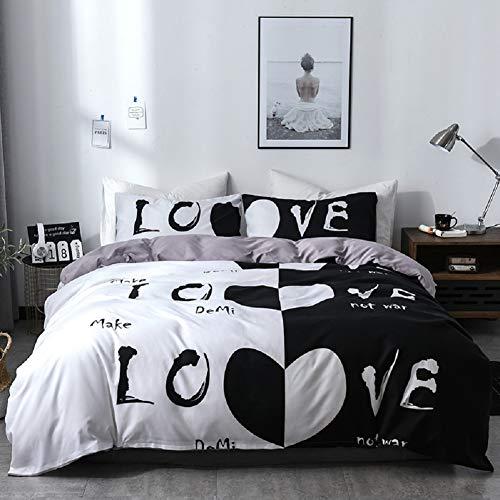 Lanqinglv Bettwäsche 200x200 cm Paare Liebe 3 Teilig Schwarz und weiß Bettwäsche Set mit Reißverschluss-Love Bettbezug und Kissenbezug 50x75 cm (Love,200x200)