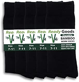Ready Goods Mens Durable Bamboo Black Work Socks (5 pack) Moisture Wicking